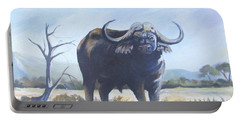 Portable Battery Charger featuring the painting Lone Bull by Anthony Mwangi