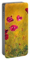 Portable Battery Charger featuring the painting Lonely Poppies by Teresa Wegrzyn