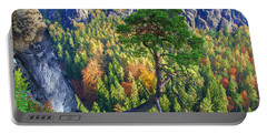 Lonely Tree In The Elbe Sandstone Mountains Portable Battery Charger