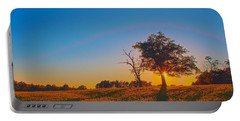Portable Battery Charger featuring the photograph Lonely Tree On Farmland At Sunset by Alex Grichenko