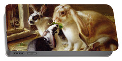 Long-eared Rabbits In A Cage Watched By A Cat Portable Battery Charger