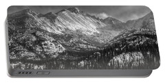 Longs Peak Rocky Mountain National Park Black And White Portable Battery Charger