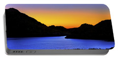 Looking Through The Quartz Mountains At Sunrise - Lake Altus - Oklahoma Portable Battery Charger by Jason Politte