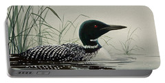 Loon Near The Shore Portable Battery Charger