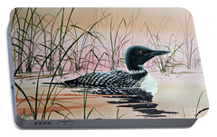 Loon Sunset Portable Battery Charger by James Williamson