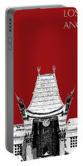Los Angeles Skyline Graumans Chinese Theater - Dark Red Portable Battery Charger
