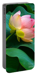 Lotus Blossom And Leaves Portable Battery Charger by Byron Varvarigos