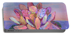 Portable Battery Charger featuring the painting Lotus II by Shadia Derbyshire