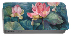 Portable Battery Charger featuring the painting Lotus Pond by Elena Oleniuc