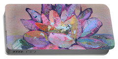 Portable Battery Charger featuring the painting Lotus V by Shadia Derbyshire