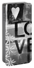 Love- Abstract Painting Portable Battery Charger by Linda Woods