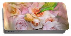 Portable Battery Charger featuring the mixed media Love Among The Roses by Carol Cavalaris