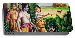 Portable Battery Charger featuring the painting Love And Valour- Ramayana- The Divine Saga by Ragunath Venkatraman