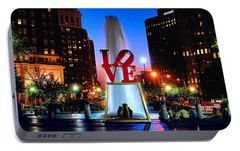 Love At Night Portable Battery Charger by Nick Zelinsky
