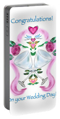 Portable Battery Charger featuring the digital art Love Birds White Wedding by Christine Fournier