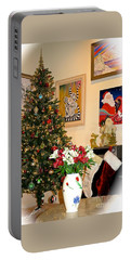 Love In Our Hearts And Santa In The Corner Portable Battery Charger