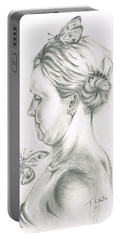 Portable Battery Charger featuring the drawing Loves- Her Butterflies by Teresa White
