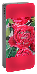 Portable Battery Charger featuring the painting Love... A Beautiful Rose With Thorns by Kimberlee Baxter
