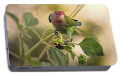 Lovebird On  Sunflower Branch  Portable Battery Charger by Saija  Lehtonen