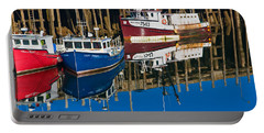 Boats And Reflections At Low Tide On Digby Bay Nova Scotia Portable Battery Charger