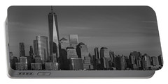 Lower Manhattan Skyline Bw Portable Battery Charger