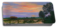 Portable Battery Charger featuring the painting Loxahatchee Sunset by Karen Zuk Rosenblatt