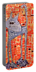 Portable Battery Charger featuring the painting Lucy Bleu by Donna Howard