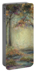 Portable Battery Charger featuring the painting Luminous Landscape by Mary Wolf