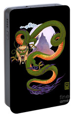 Lunar Chinese Dragon On Black Portable Battery Charger by Melissa A Benson