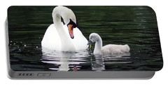 Lunchtime For Swan And Cygnet Portable Battery Charger