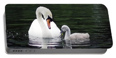 Lunchtime For Swan And Cygnet Portable Battery Charger by Rona Black