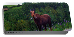 Lupine Loving Moose Portable Battery Charger by Barbara Griffin