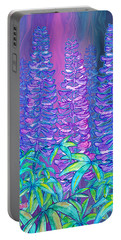Portable Battery Charger featuring the mixed media Lupines by Teresa Ascone