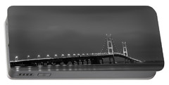 Mackinac Bridge Black And White Portable Battery Charger
