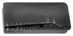 Mackinac Bridge Black And White Portable Battery Charger