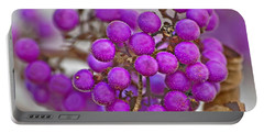 Portable Battery Charger featuring the photograph Macro Of Purple Beautyberries Callicarpa Plant Art Prints by Valerie Garner