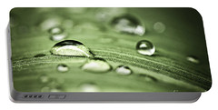 Macro Raindrops On Green Leaf Portable Battery Charger