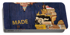 Made In Michigan Products Vintage Map On Wood Portable Battery Charger