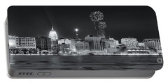 Madison - Wisconsin -  New Years Eve Panorama Black And White Portable Battery Charger