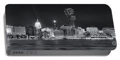 Madison - Wisconsin -  New Years Eve Panorama Black And White Portable Battery Charger by Steven Ralser
