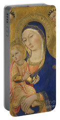 Madonna And Child With Saint Jerome Saint Bernardino And Angels Portable Battery Charger