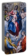 Madonna And Child With Saint Martina And Saint Agnes Portable Battery Charger