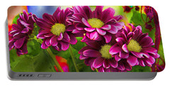 Magenta Flowers Portable Battery Charger