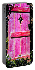 Magenta Painted Door In Garden  Portable Battery Charger by Asha Carolyn Young and Daniel Furon