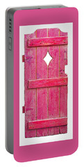 Portable Battery Charger featuring the sculpture Magenta Pink Painted Garden Door by Asha Carolyn Young