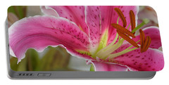 Magenta Tiger Lily Portable Battery Charger