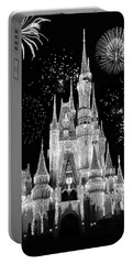 Magic Kingdom Castle In Black And White With Fireworks Walt Disney World Portable Battery Charger