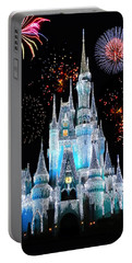 Magic Kingdom Castle In Frosty Light Blue With Fireworks 06 Portable Battery Charger