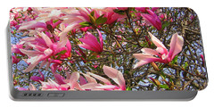 Portable Battery Charger featuring the photograph Blooming Pink Magnolias by Dora Sofia Caputo Photographic Art and Design