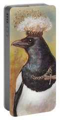 Magpie In A Milkweed Crown Portable Battery Charger